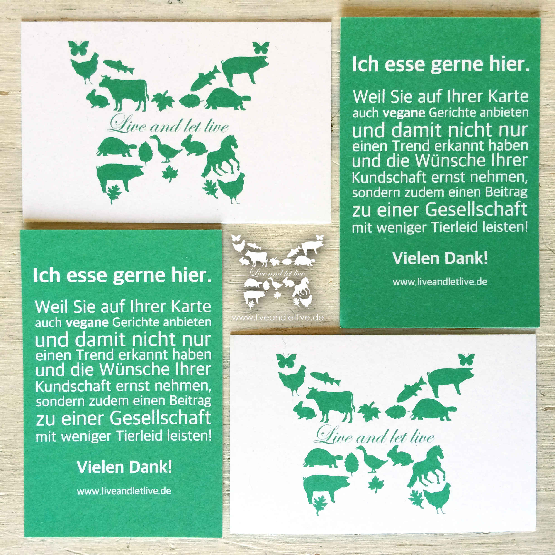 Live and let live Ich esse gerne hier Karten